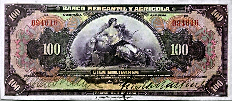 Billete de Bs. 100 Banco Mercantíl y Agrícola 1926