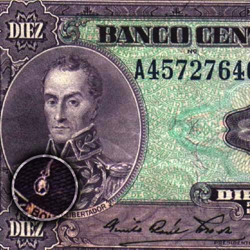 Billete de 10 Bolívares mostrando el Medallon de Washington
